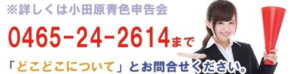 ※詳しくは小田原青色申告会 0465-24-2614まで「どこどこについて」とお問合せください。